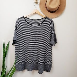 Eileen Fisher Linen Striped Short Sleeve Top Black